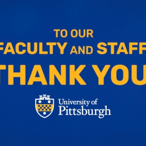 """a blue and gold graphic that says """"To our faculty and staff: thank you!"""""""