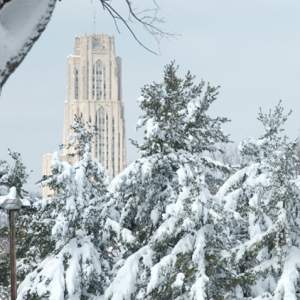 Cathedral of Learning behind snow-covered pine trees