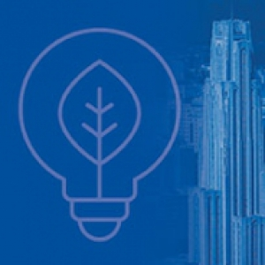 A blue design with a leaf inside of a light bulb with the cathedral of learning to the side