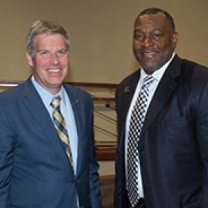 Chancellor Patrick Gallagher and PPS Superintendent Anthony Hamlet