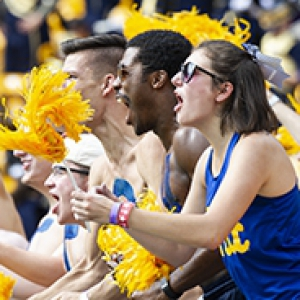Cheering University of Pittsburgh fans