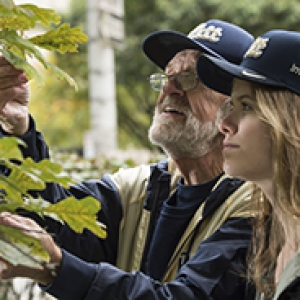 Tom Eliseuson and Madison Holden wearing ballcaps and examining a tree