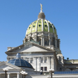 The top of the Pennsylvania state Capitol building
