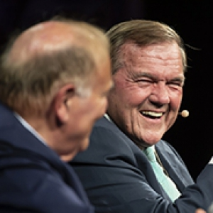 Former Pennsylvania governors Ed Rendell and Tom Ridge. Rendell's head is toward Ridge, and Ridge is smiling