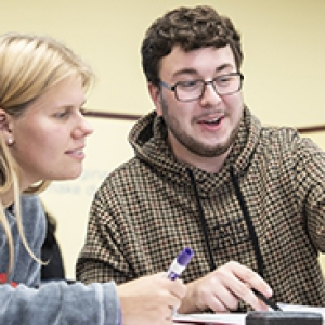 Lindsey Macalay and William McFadden in Study Lab