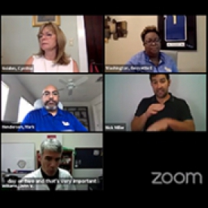 A Zoom participant with seven visible participants