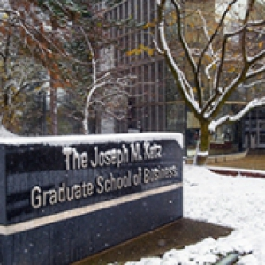 A sign for the Joseph M. Katz Graduate School of Business