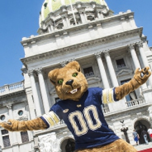 mascot Roc in front of the capitol building in Harrisburg