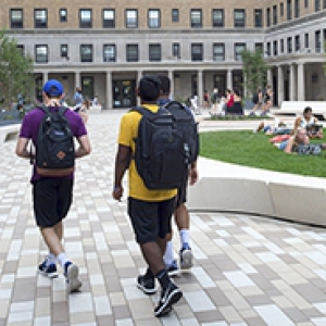 students walking through the new quad