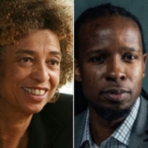 Angela Davis and Ibram X. Kendi in a stitched photo