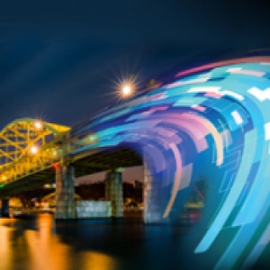 Graphic of a Pittsburgh bridge turning into data