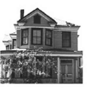 a black and white image of a house