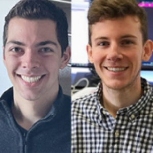 Two people in dress shirts in stitched photos side by side