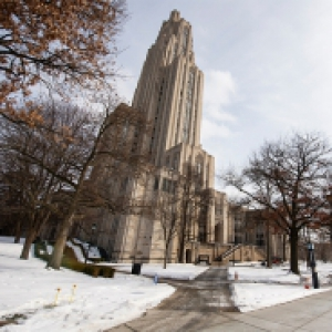 The Cathedral of Learning in the snow