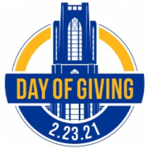"The Pitt Day of Giving logo—a Cathedral of Learning in blue with the words ""Day of Giving: 2.23.21"" superimposed"