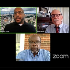 A Zoom meeting with three participants