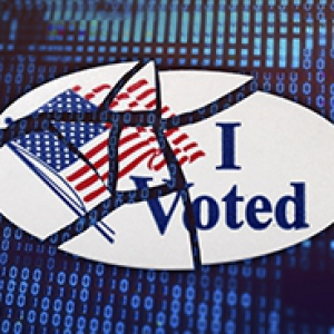 "an ""I Voted"" sticker that's broken into pieces on top of a background of 1s and 0s"