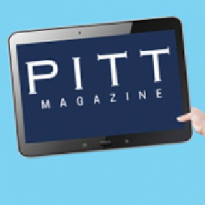 """Tablet that says """"Pitt Magazine"""" on a blue background"""