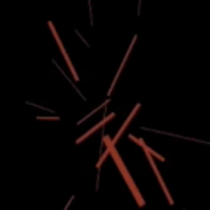 "Random short red lines scattered on a black background to represent ""electrical"" type pain"