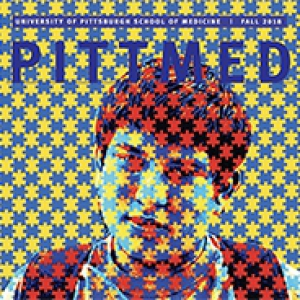 cover of pitt med, which features a boy wearing a backpack, depicted with blue and gold puzzle pieces