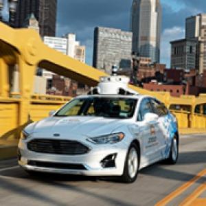 Self driving vehicle on a Pittsburgh bridge