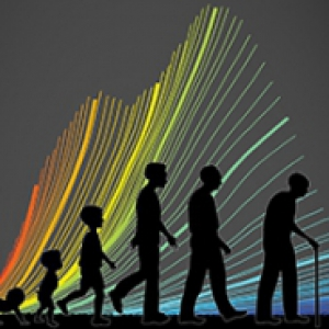 A depiction of an age spectrum, with a rainbow behind the figures