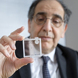 José-Alain Sahel holding the PRIMA implant, which is designed to restore sight in patients blinded by retinal degeneration.