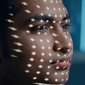 Closeup of a man undergoing an eye test