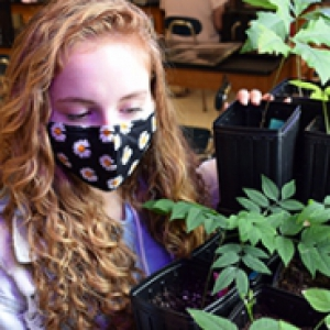 A student in a black face mask looks at plants