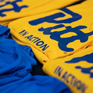 Blue and yellow Pitt shirts
