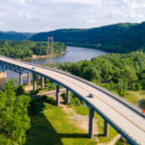 Overhead image of a bridge over a river
