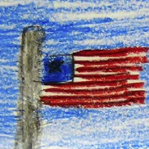 a child's drawing of an American flag