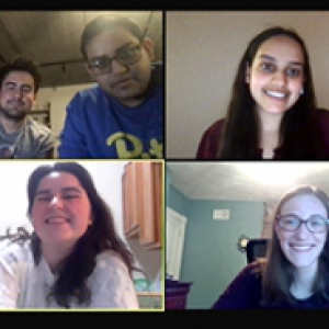 A zoom screen with four callers, the caller in the top left corner having three people. Top left is Isabella Stash, Joshua Zito, Ravi Gandhi, followed by upper right Roshni Gandhi, bottom left is Grace O'Malley, and bottom right is Melody Whittaker.