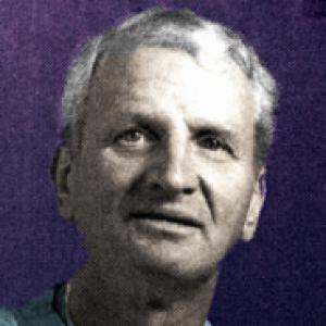 Eugene Myers on a purple background